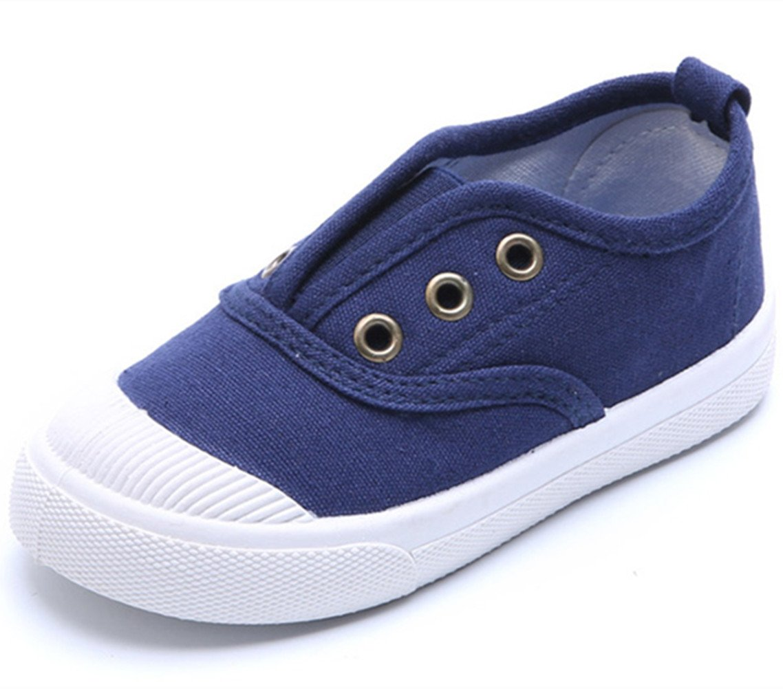 DADAWEN Baby's Boy's Girl's Canvas Light Weight Slip-On Loafer Casual Running Sneakers Blue US Size 1 M Little Kid