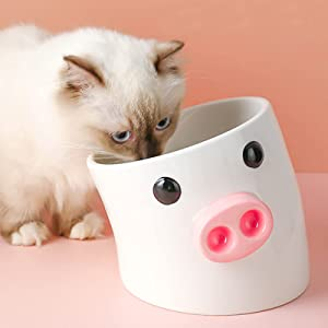 Candiicap Cute Ceramic Raised Cat Food and Water Bowl, Cartoon Elevated Dog Bowls Set, Raised Pet Feeder Bowl for Cats and Small/Medium Sized Dogs (Cute Piggy)