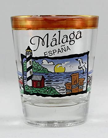 Málaga España Pearl Trim Nautical Escena Shot Vaso: Amazon.es: Hogar