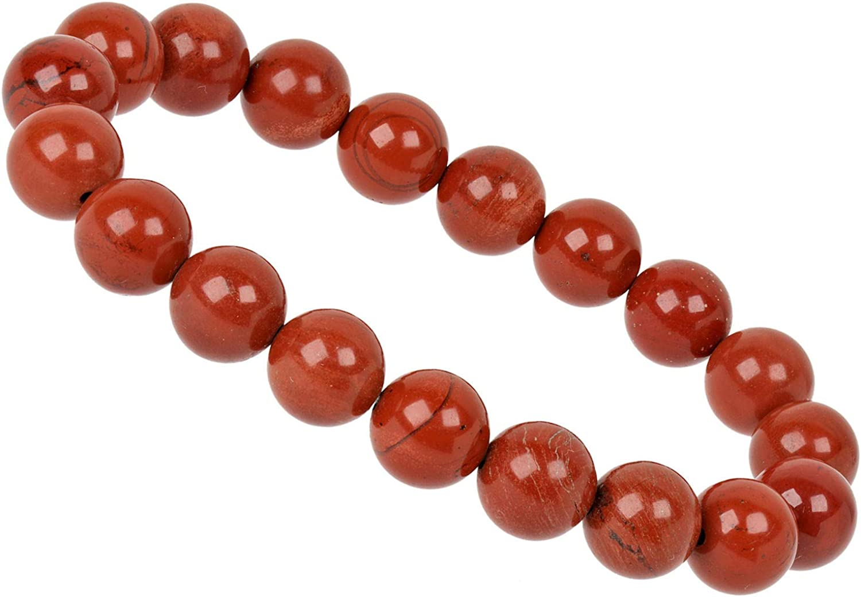 PowerBead Pulsera de Piedras Preciosas de 10 mm con Jaspe Rojo para Hombre y Mujer