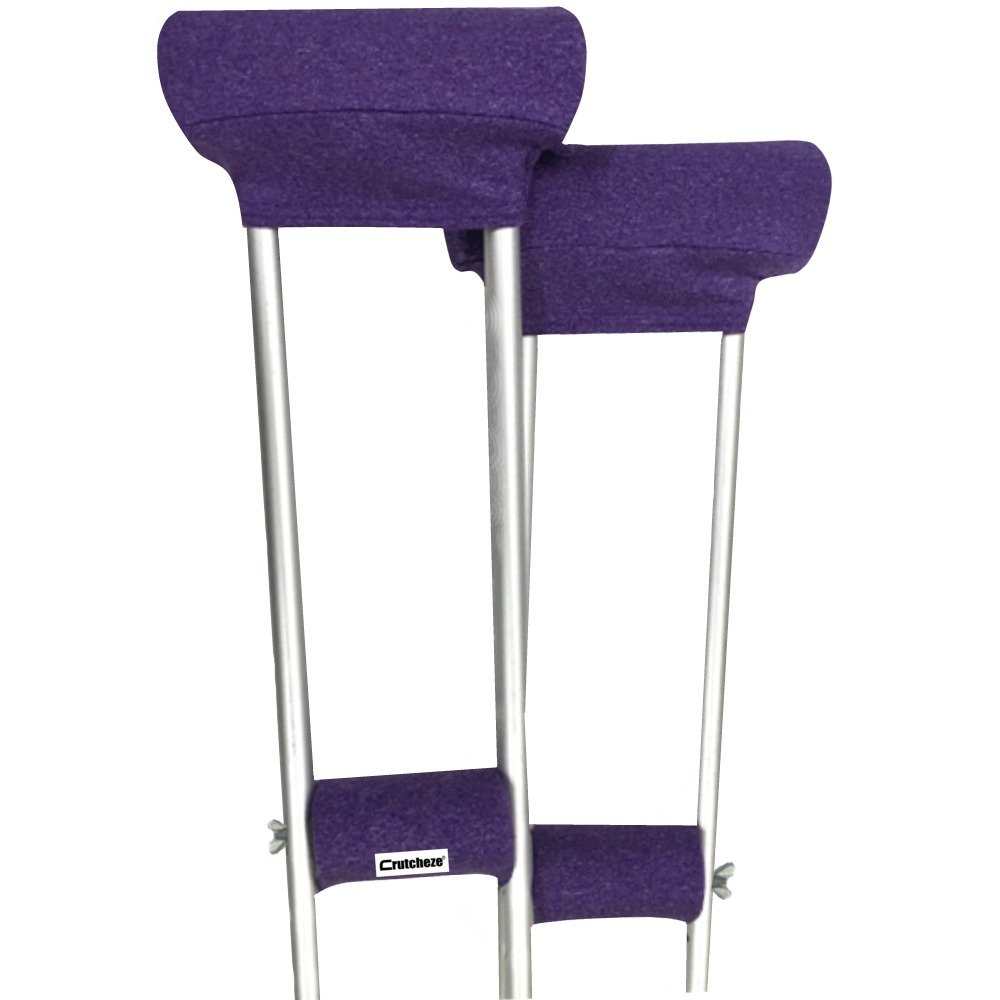 Crutcheze Purple Heather Crutch Pad Set - Underarm & Hand Grip Covers with Comfortable Padding - Crutch Accessories Made In USA (2 Armpit, 2 Hand Cushion)