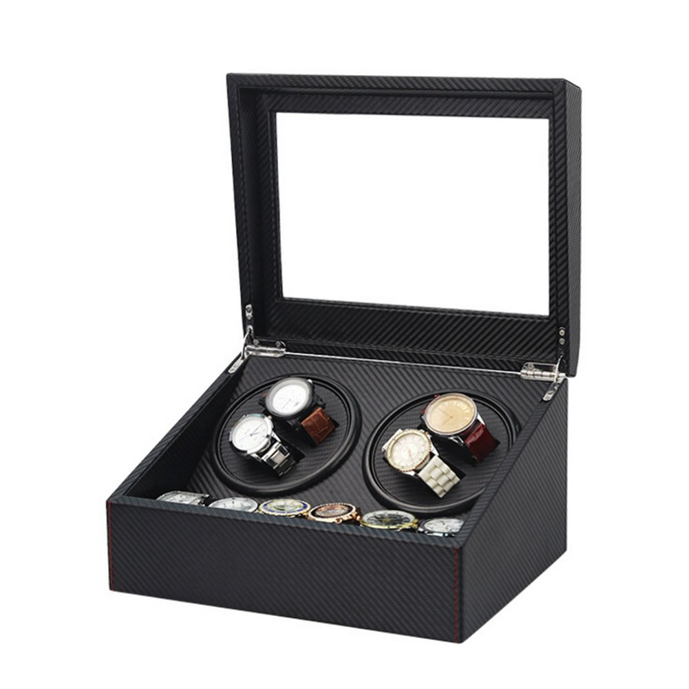 IRON JIA'S Quad Automatic Mechanical Watch Winder 6 storage lattice Piano Paint Carbon fiber PU lining Mabuchi Quiet Motor