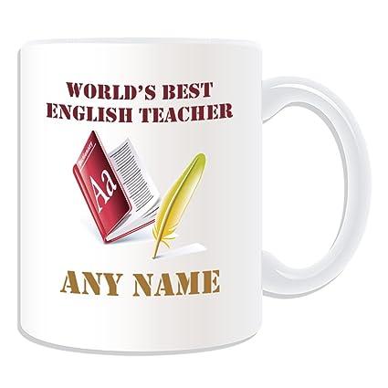 Regalo personalizado – World s Best profesor de Inglés/diccionario y pluma taza (