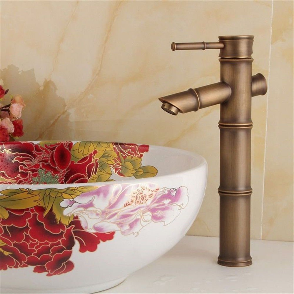 AQMMi Bathroom Vanity Sink Faucet Brass Hot and Cold Water Single Lever Antique Bathroom Basin Sink Tap Bathroom Faucet