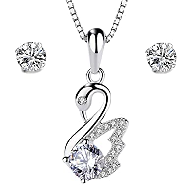 Gilind 925 Sterling Silver Heart Necklace and Earrings Set for Women + Gift Box 1IhCA