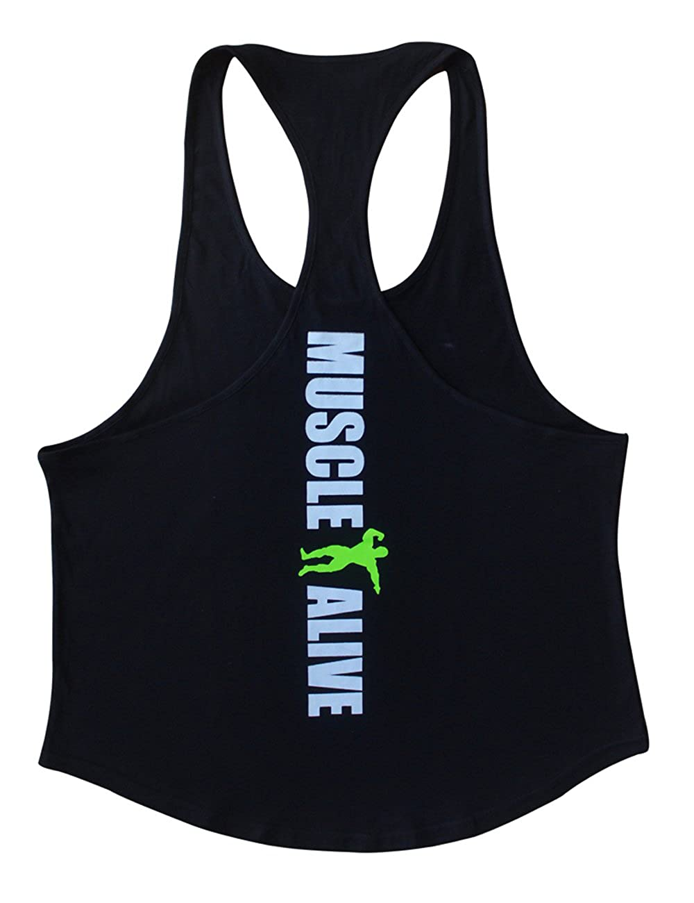 377066581ecff3 Amazon.com  MUSCLE ALIVE Mens Bodybuilding Stringer Tank Tops Cotton  Racerback Arch Hem  Clothing