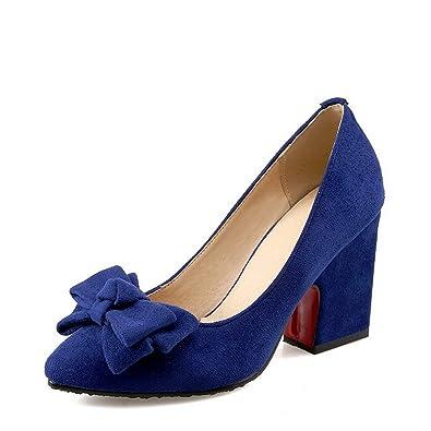 Damen Spitz Zehe Ziehen auf PU Rein Hoher Absatz Pumps Schuhe, Schwarz, 33 VogueZone009