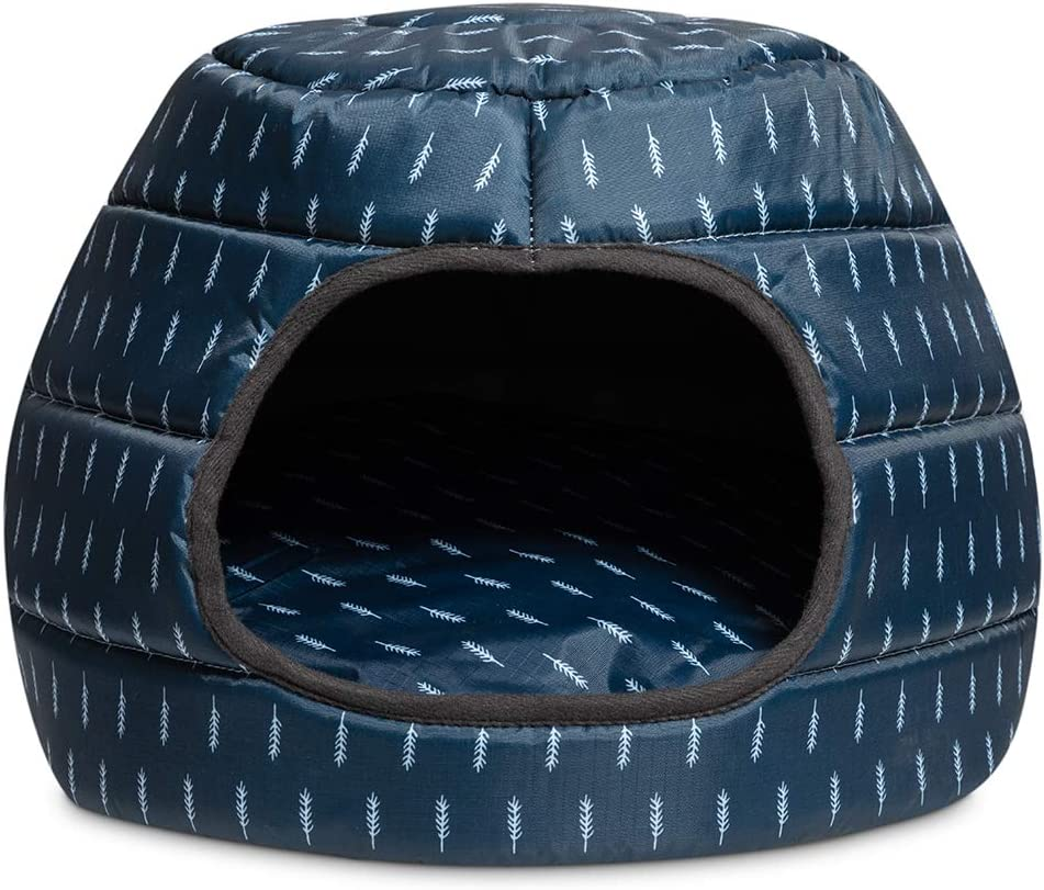 Hollypet Cooling Pet Bed for Cat and Small Dog Puppy 2 in 1 Foldable Comfortable Nest Cave Sofa House for Summer, Dark Blue
