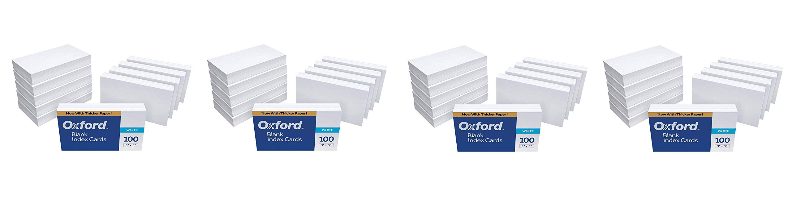 Oxford Blank Index Cards, 3'' x 5'', White, 1,000 Cards (10 Packs of 100) (30) (Fоur Paсk) by Oxford