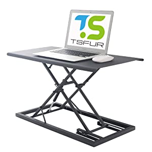 "TSFUR Desktop Standing Desk Converter - 0.9"" Ultra Thin Metal Computer Laptop Desk Stand - Portable Office Small Ergonomic Height Adjustable Sit Stand Up Desk - Office Supplies Accessories (Black)"