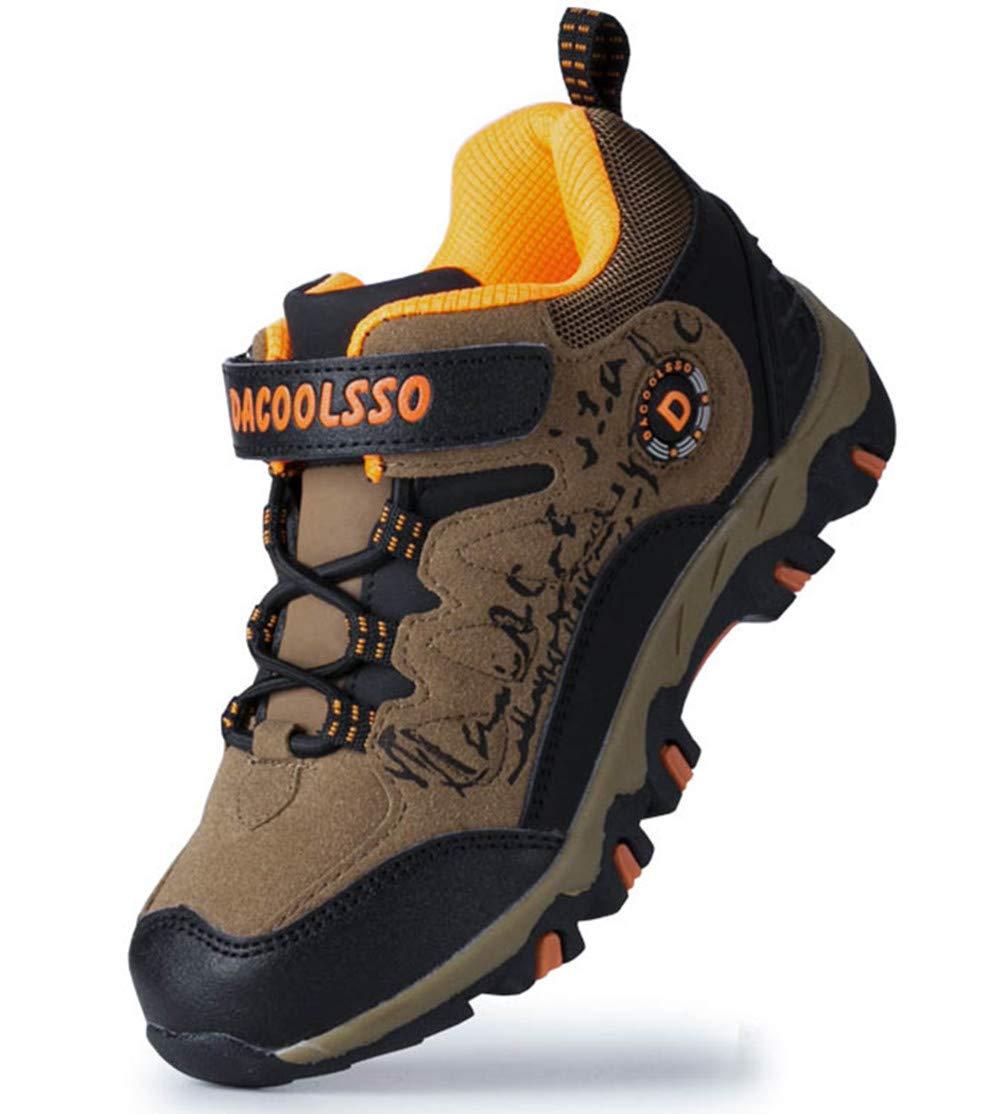 DADAWEN Kids Waterproof Outdoor Hiking Athletic Sneakers Running Shoes Brown/Orange US Size 13 M Little Kid