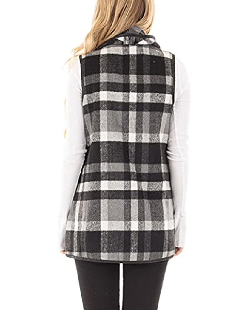 Stokeen Womens Color Block Lapel Open Front Sleeveless Plaid Vest Cardigan with Pockets