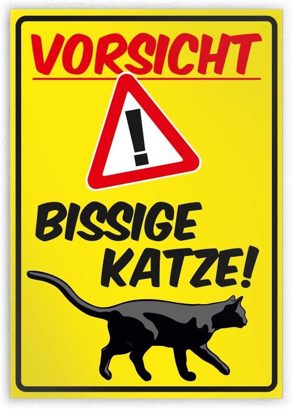 Kiwistar Vorsicht bissige Katze Parkplatzschild Alu Verbund kein PVC! 21 x 15cm
