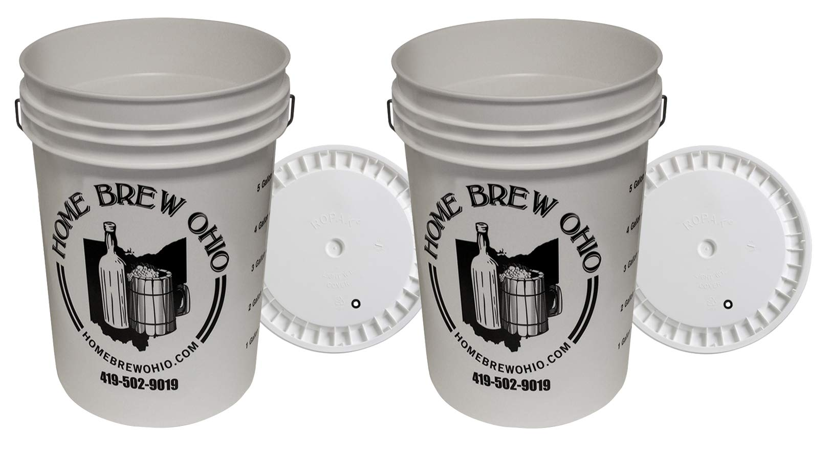 6.5 Gallon Plastic Fermenter With Lid (2-Pack)