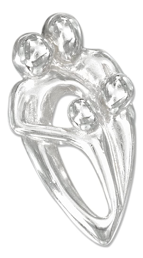 Sterling Silver High Polish Couple with Two Children Pendant