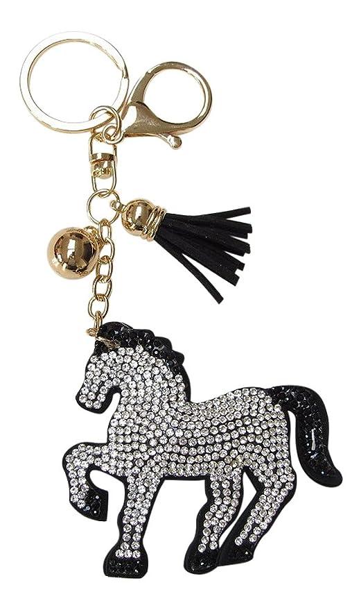 Joya bolsa, llavero caballo strass cristal blanco y negro ...