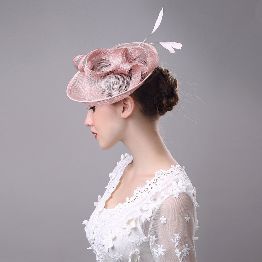 Women's Vintage Fascinators Hat Flower Mesh Ribbons Feathers with Clip for Wedding Bridal Headware by Hoxekle (Image #7)