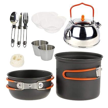 nicololfle Juego de Cocina de mochilero Ligero, Compacto y Plegable para Caminatas, Picnic y