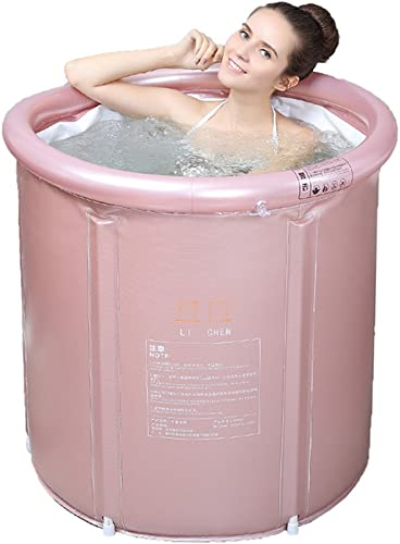 Adult Folding Bathtub Thick Plastic Bath Tub Inflatable Simple Bath Tub Home SPA Bathtub Color Pink, Size L