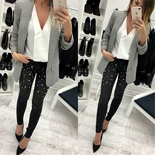 Taille Pantalon Pantalon Stretchy Jeans Perles Moulante Femmes Denim Noir Qikaka Dcontract Haute BWqpBT5