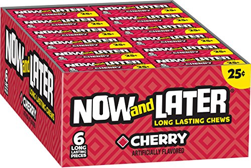 Now & Later Original Taffy Chews Candy, Cherry, 0.93 Ounce Bar, Pack of 24