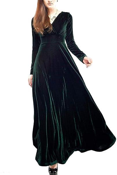 Zilcremo Vestido De Noche De Las Mujeres Maxi Elegante Terciopelo V Cuello Vestido De Fiesta Verde
