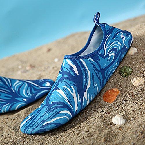 Adulte Enfants À Séchage Rapide Peau Sports Nautiques Chaussures Aqua Chaussettes Troué Ventilation Kpu Outsole 2 Bleu