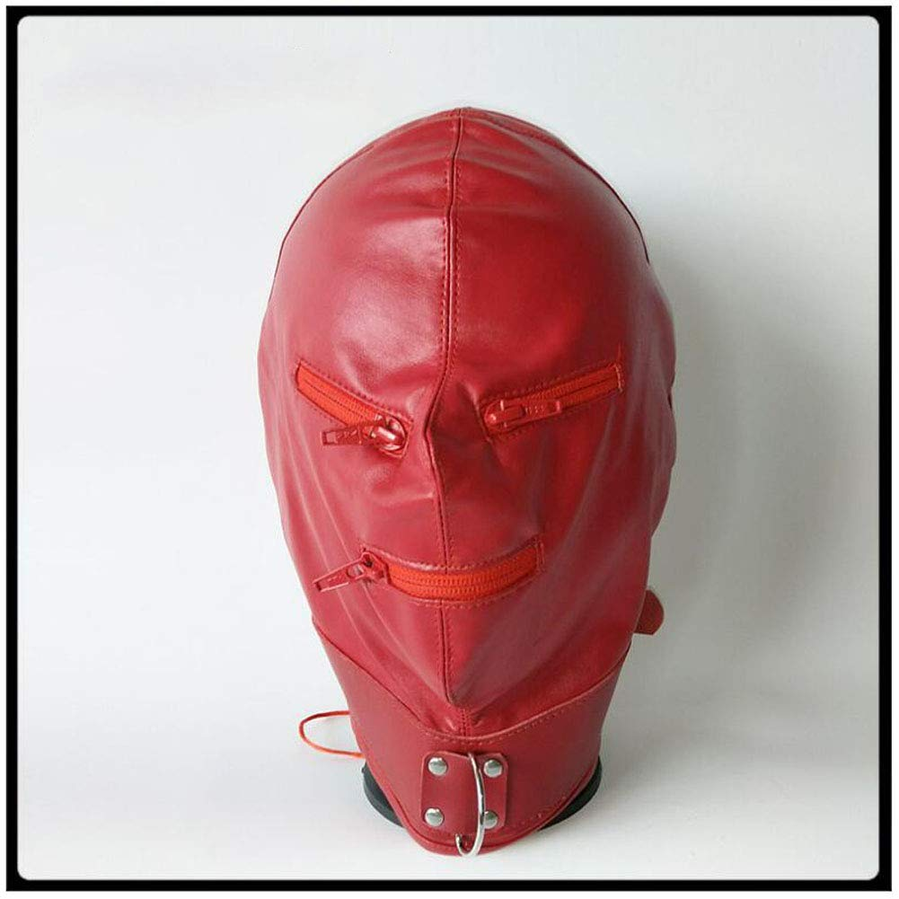 Red Soft PU Thickening Strengthen Fully Enclosed Headgear Punishment Mask Restraint Supplies Sex Toys Leather by YEZHIMEIMIAO