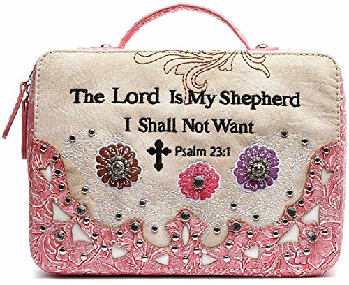 - Embroidery Scripture Bible Verse Psalm 23:1 Western Country Bible Cover Handle Books Case Cross Purse (Pink)