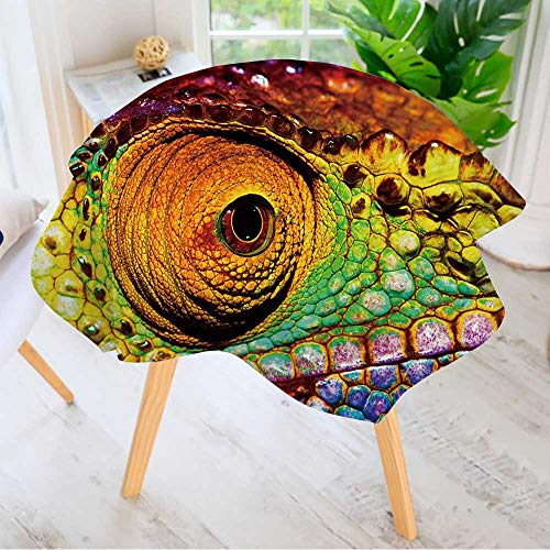 Leighhome 100% Polyester Printed Table Cloth- Photo of Colorful Reptilian Eye,Closeup Head Part of Chameleon,Multicolor Scaly Ideal for Home, Restaurants, Cafés 47.5