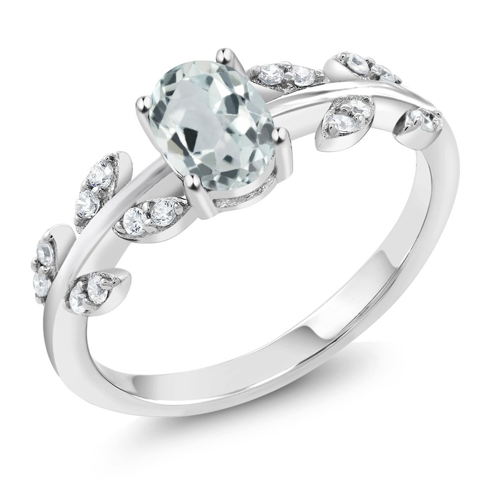 0.83 Ct Oval Sky Blue Aquamarine White Diamond 10K White Gold Olive Vine Ring (Ring Size 7)