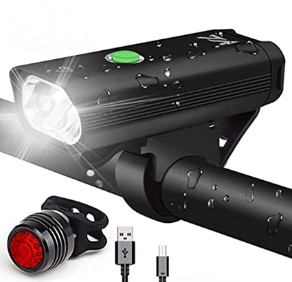 Hell LED Fahrradbeleuchtung Set Fahrradlicht USB Scheinwerfer Rücklicht Lampe DE