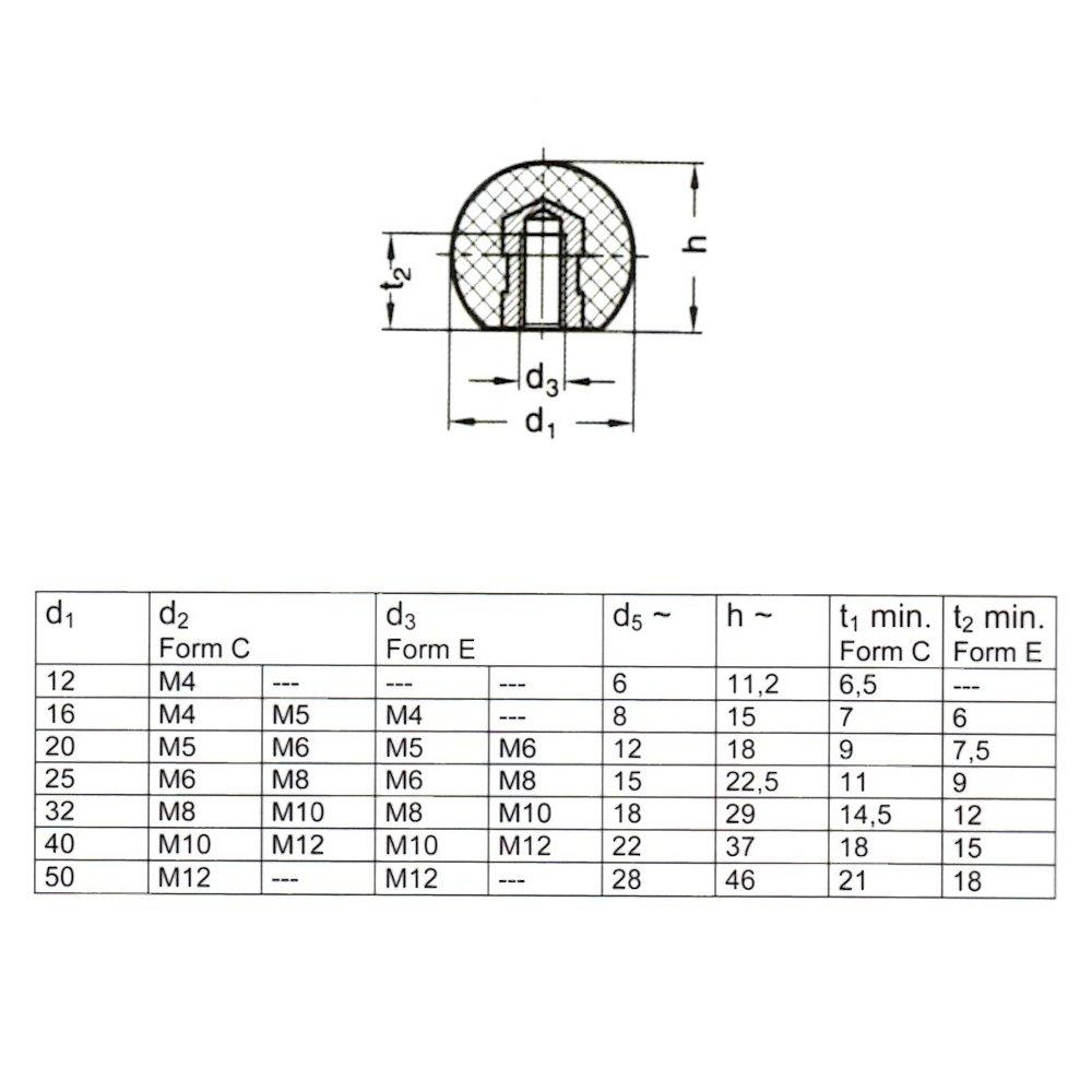 DIN 319 Menge:4 ST/ÜCK Kugelknopf M 8 /Ø 40 mm schwarz Stahlgewinde MENGE w/ählbar