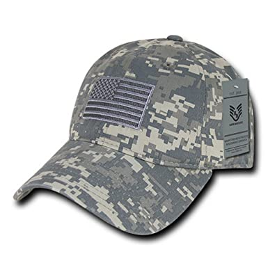 8b8b39deffd67 American Flag Embroidered Washed Cotton Camo Cap - ACU at Amazon Men s  Clothing store