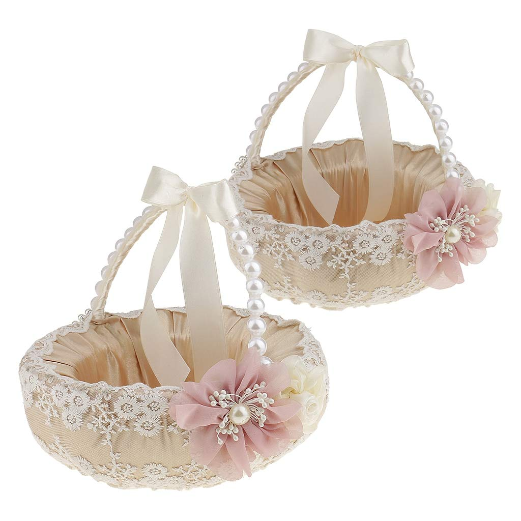 Wedding Ring Holder - 2pcs Luxury Beige Satin Lace Floral Pearls Handle Flower Girl Basket Wedding Ceremony Party Supplier - Party Decorations Party Decorations Burl Wood Basket Flower Wedding L