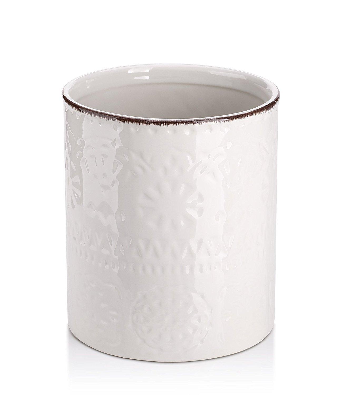 """LIFVER Fine Embossed Ceramic Crock Utensil Holder, 7.2"""" x 6.2"""", White"""