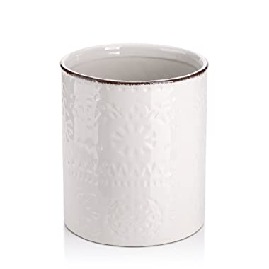Lifver Embossed Ceramic Crock Utensil Holder, 7.2  x 6.2 , White