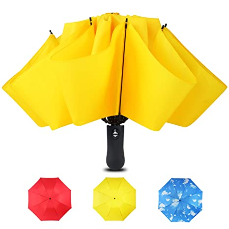 d72af1f05 Image Unavailable. Image not available for. Color: Automatic Inverted Compact  Travel Umbrella with Reverse, Auto Open Close Folding Strong Windproof ...
