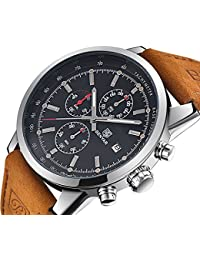 FOVICN Men's Fashion Business Quartz Watch with Brown Leather Strap Chronograph Waterproof Date Display Analog...