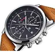 FOVICN Men's  Fashion Business Quartz Watch with Brown Leather Strap Chronograph Waterproof Date...