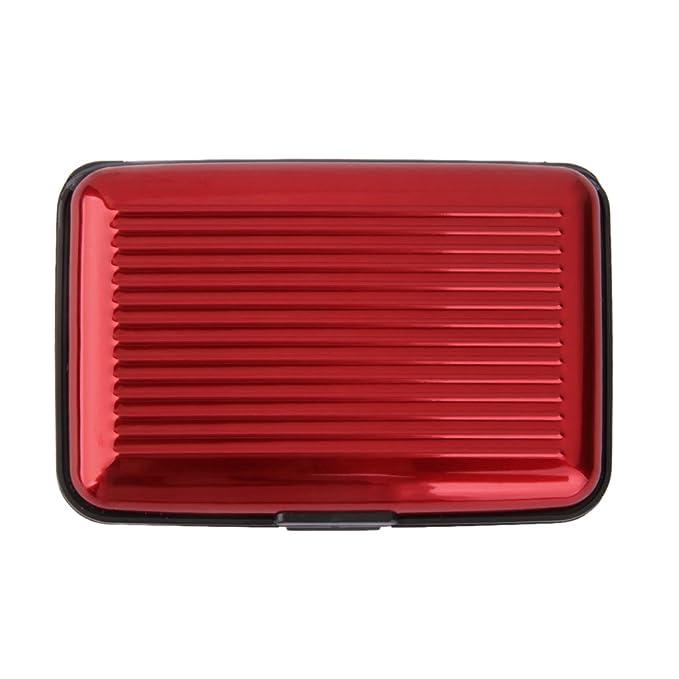 Caja Estuche de Tarjeta de Crédito Identificación Metálica de Aluminio Rayas Resistente al Agua (rojo)