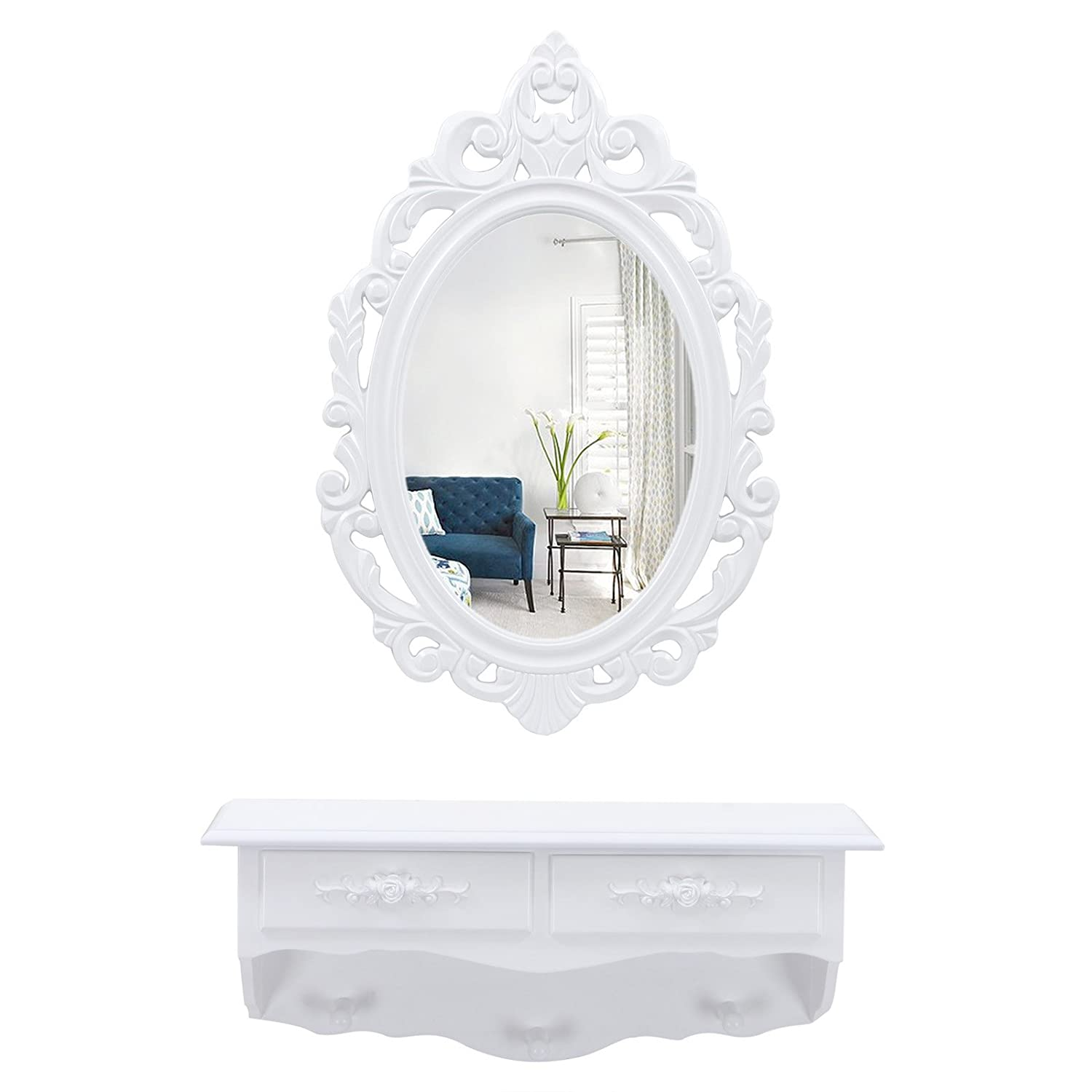 good songmics coiffeuse murale blanche avec miroir tiroirs. Black Bedroom Furniture Sets. Home Design Ideas
