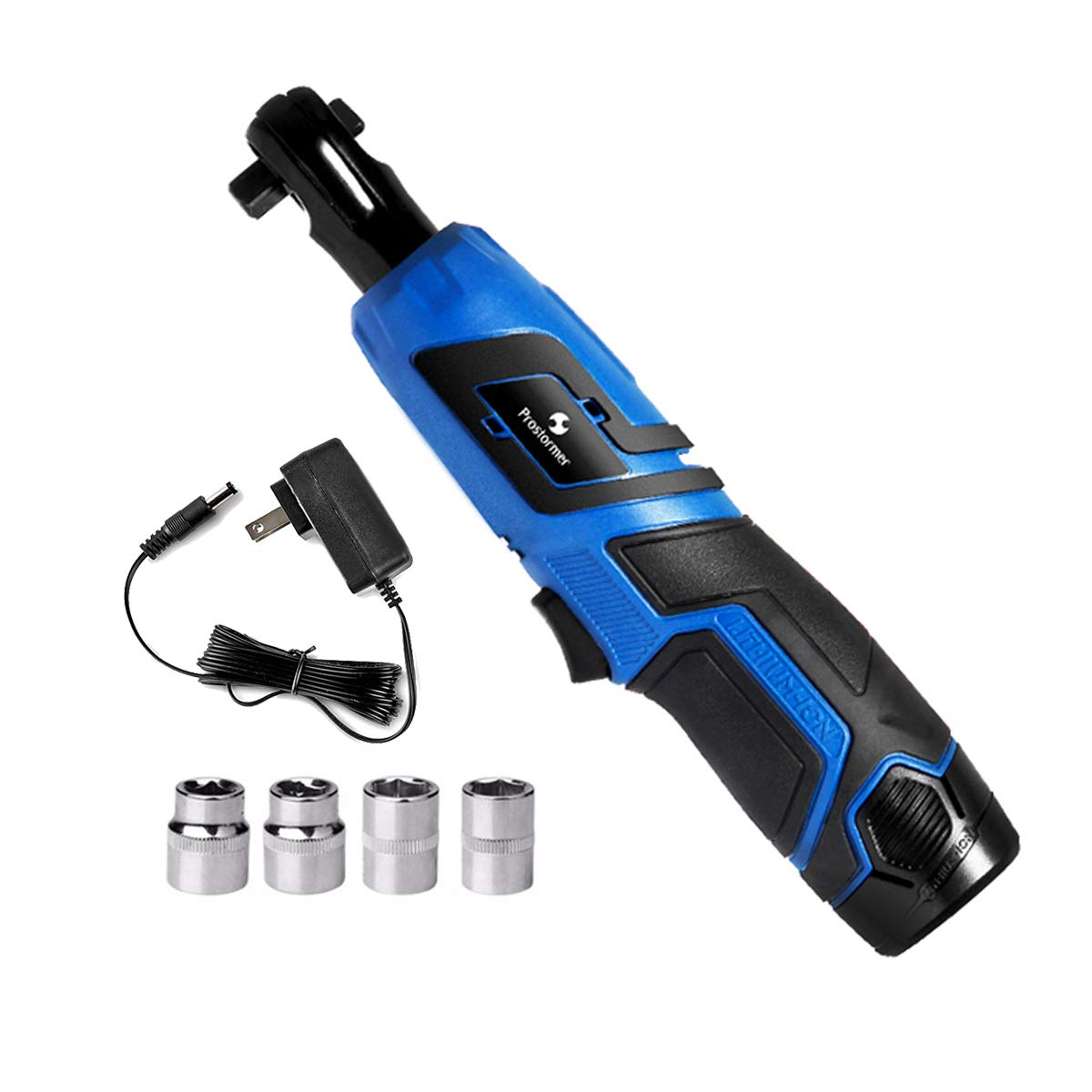 3/8'' Cordless Ratchet Wrench, Prostormer 12V Electric Ratchet Wrench Kit with 4 Sockets, 2000mAh Lithium-Ion Battery, 1 Hour Fast Charger