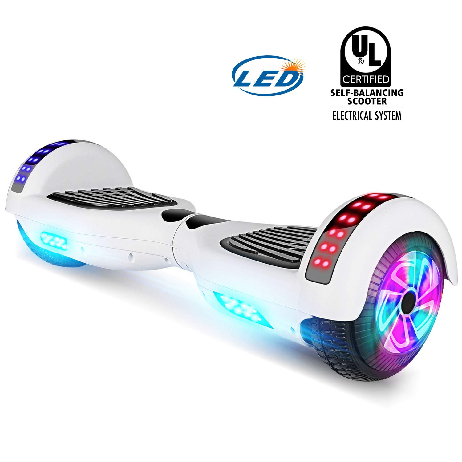 YHR Hoverboard UL 2272 Certified Two Wheel Electric Scooter Colorful Led Side Light Smart Self Balancing Scooter (White)