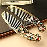 REVEW Retro Small Butterfly Hair Combdragonfly Hair CombRetro Embossed Flowers Inlaid Stone Combs
