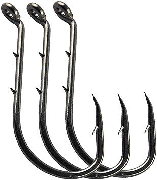 100 pcs Black Octopus High Carbon Steel Jig Hooks Baitholder Fishing Hook