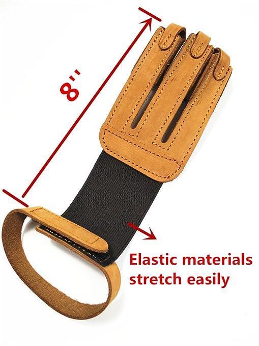 Archery tres dedos Tab Guantes Suede Leather dedo Tab para disparar Caza