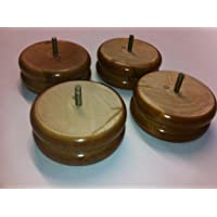 Foam & Upholstery Warehouse X8 Oak Finished Shaped Wooden Bun Feet, Replacement Furniture Legs For Sofas, Chairs & Footstools, Complete With M8 Thread & Fixings