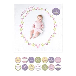 lulujo Baby's First Year Milestone Blanket and Card Set | 40in x 40in| Baby Shower Gift | Isn't She Lovely