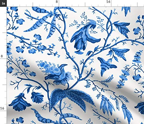 Chinoiserie Fabric - Chinese Garden In Cobalt Blue And White Chintz Floral Oriental Wallpaper Drapes Print on Fabric by the Yard - Petal Signature Cotton for Sewing Quilting Apparel Crafts Decor